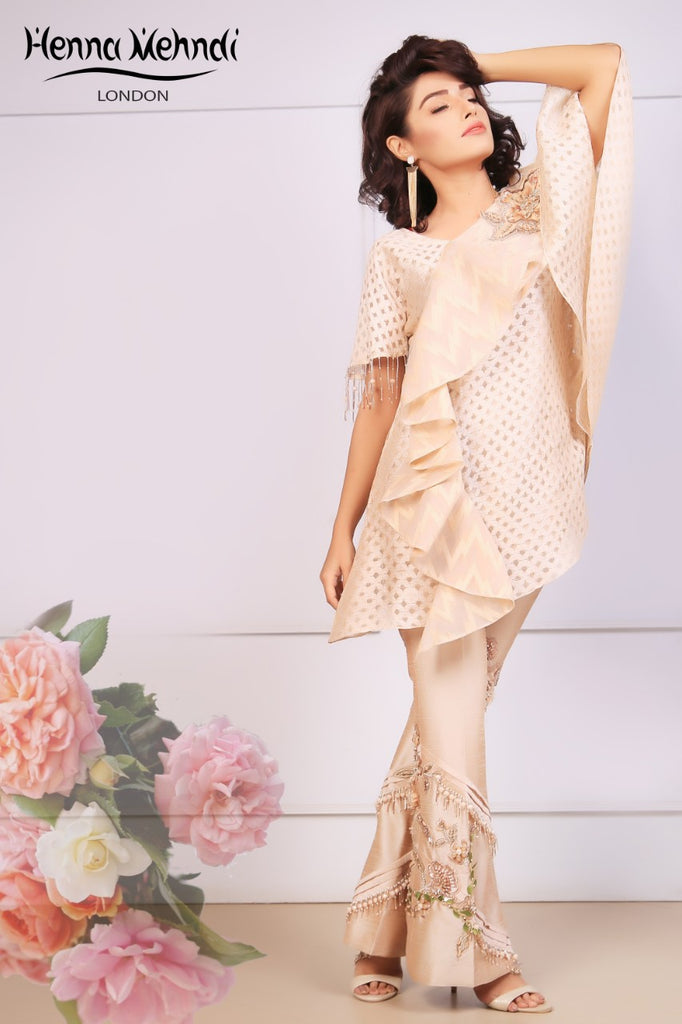 Peach Ruffle Top & Embroidered Trouser Outfit - Henna Mehndi