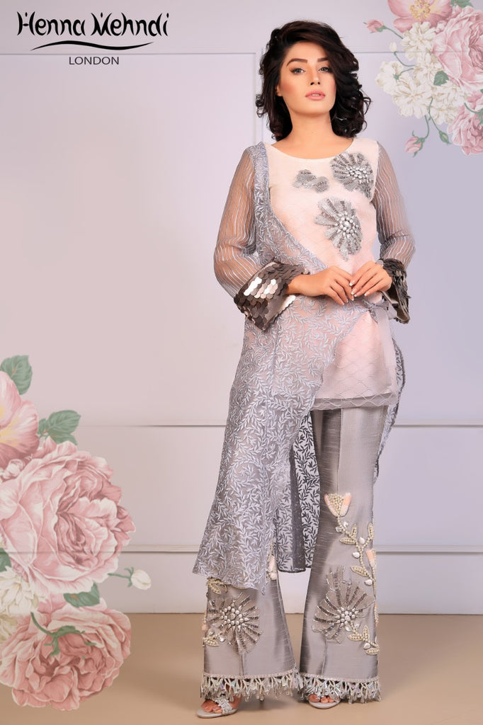 Grey Embroidered Top & Embroidered Trouser Outfit - Henna Mehndi