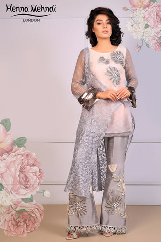 Grey Embroidered Top & Embroidered Trouser Outfit