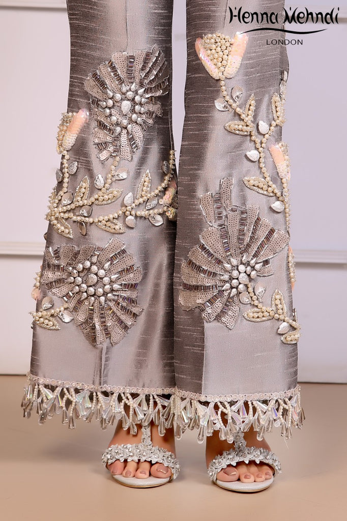 Grey Embroidered & 3D Embellished Trousers - Henna Mehndi