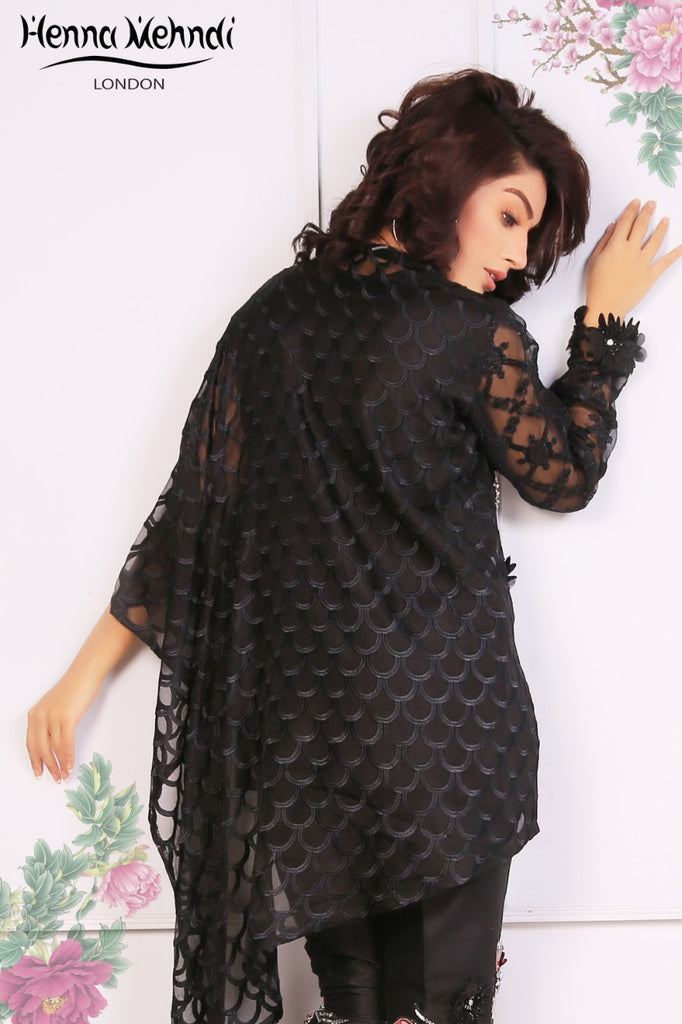 Black Embroidered Cape Top