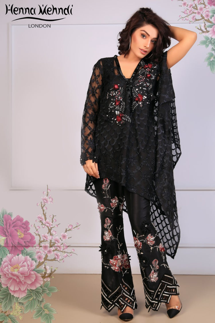 Black Embroidered Cape Top & Embroidered Trouser Outfit