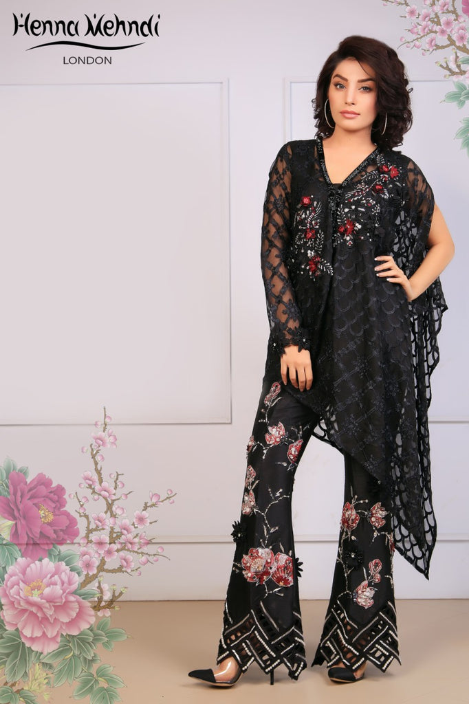 Black Embroidered Cape Top & Embroidered Trouser Outfit - Henna Mehndi