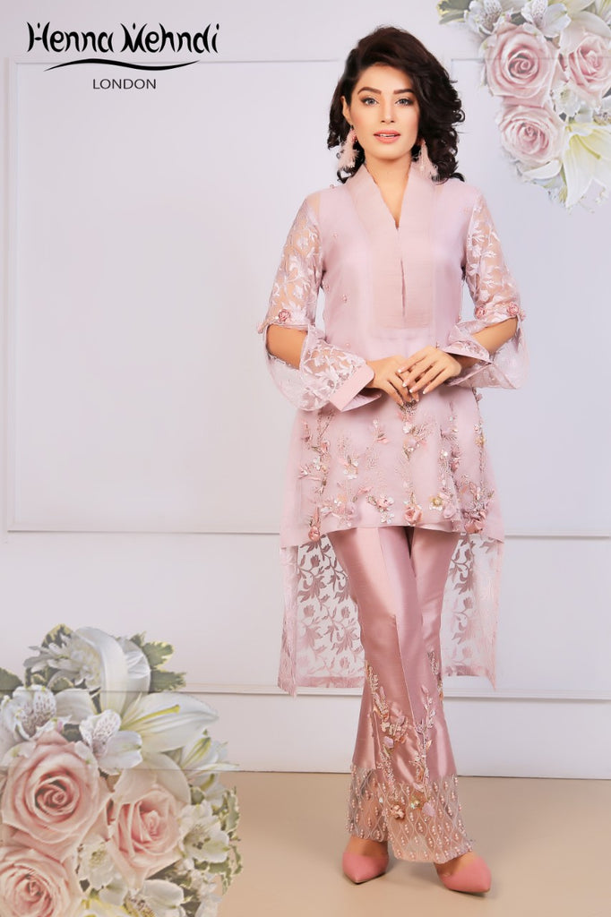 Lilac Embroidered Top & Embroidered Trouser Outfit - Henna Mehndi