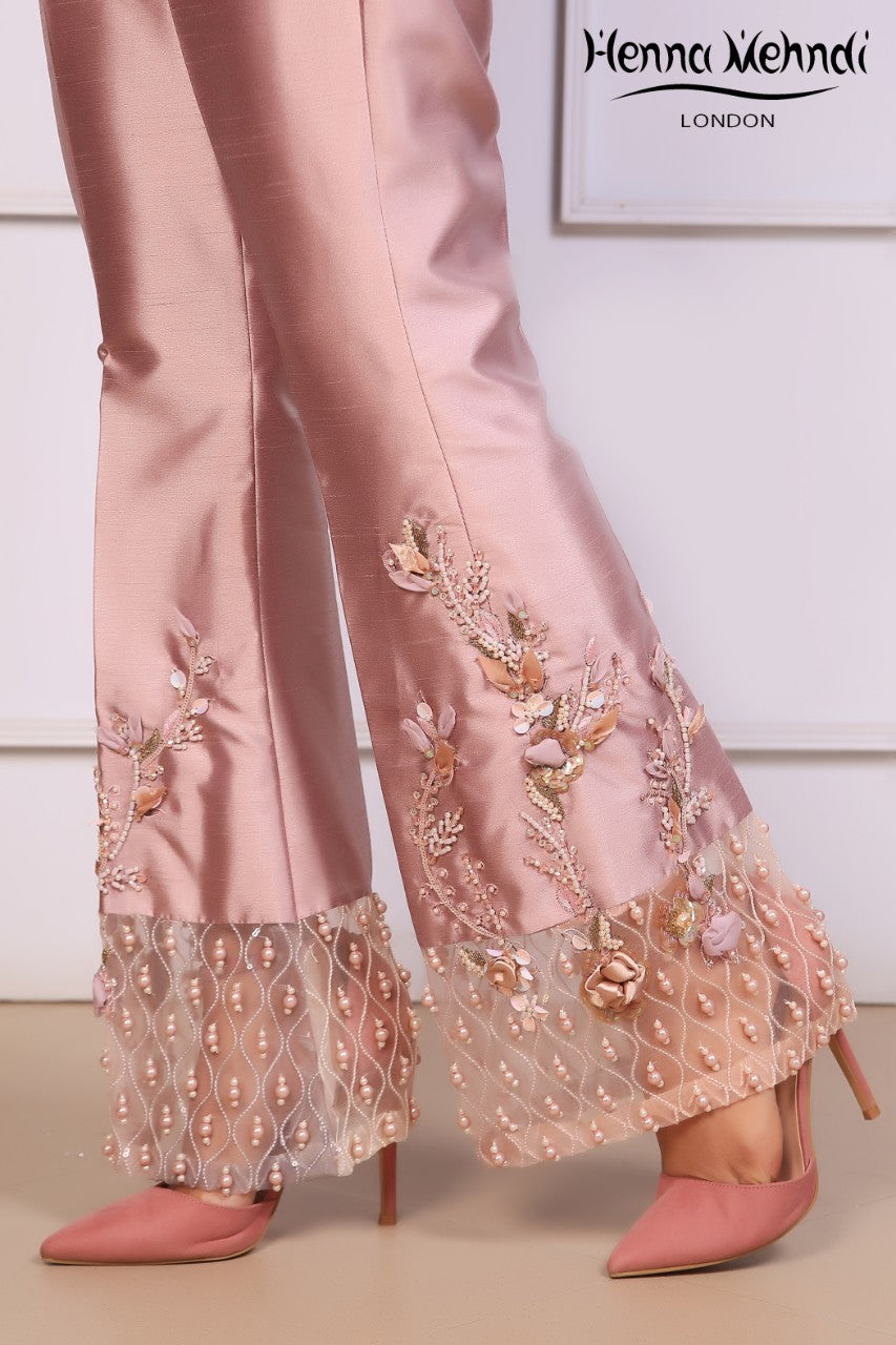 Lilac Embroidered & 3D Embellished Trousers