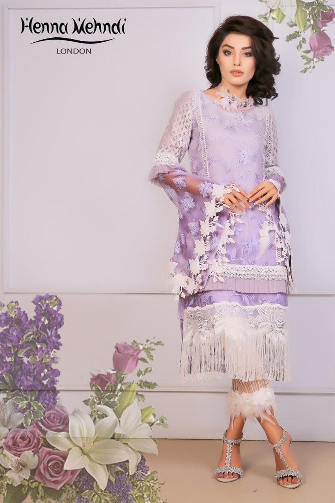 Lilac Lace & 3D Embellished Outfit - Henna Mehndi