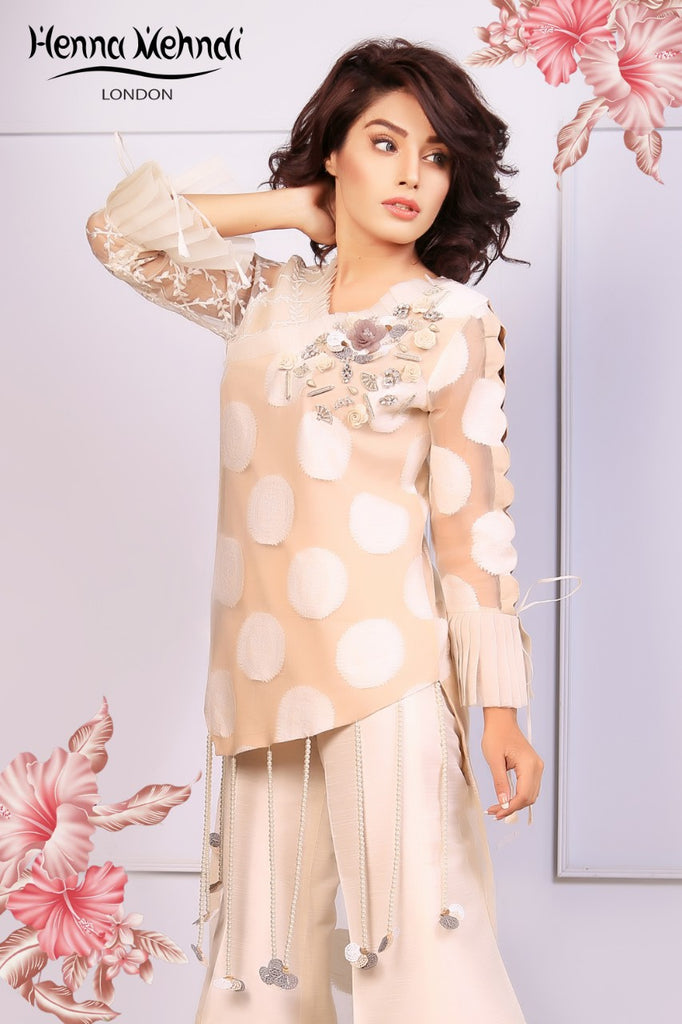 Beige 3D Embellished High Low outfit
