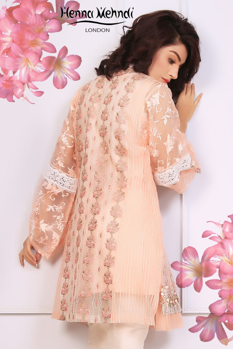Peach Embroidered & 3D Embellished Top