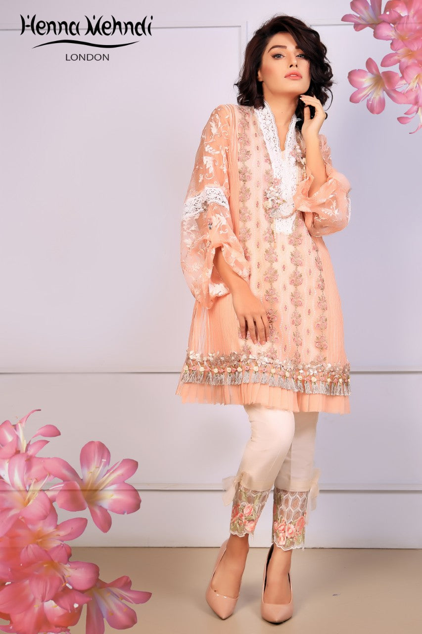 Peach Embroidered & 3D Embellished Outfit