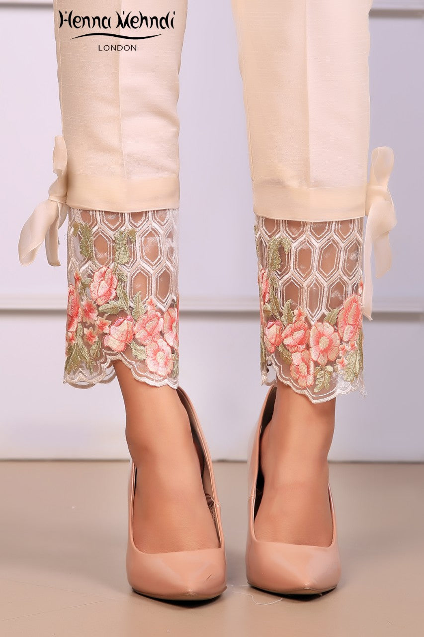 Ivory Embroidered Trousers