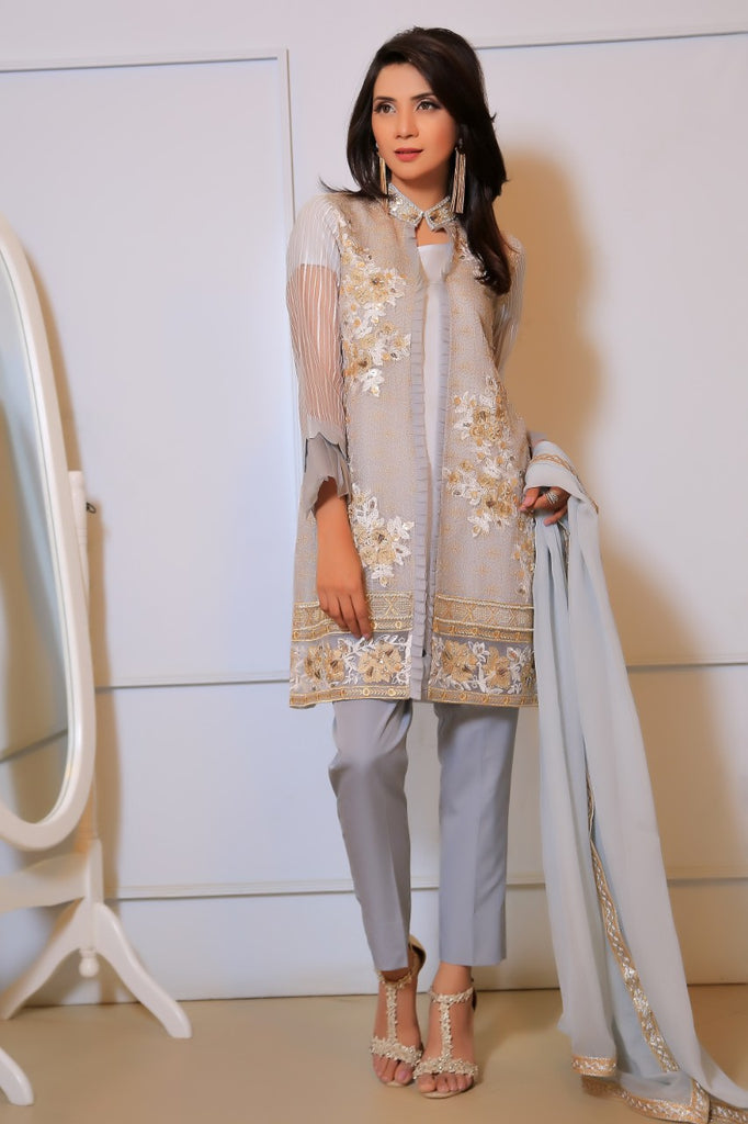 Grey Diamante Embroidered Jacket Outfit - Henna Mehndi