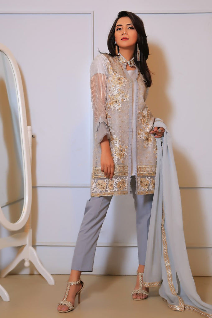 Grey Diamante Embroidered Jacket Outfit
