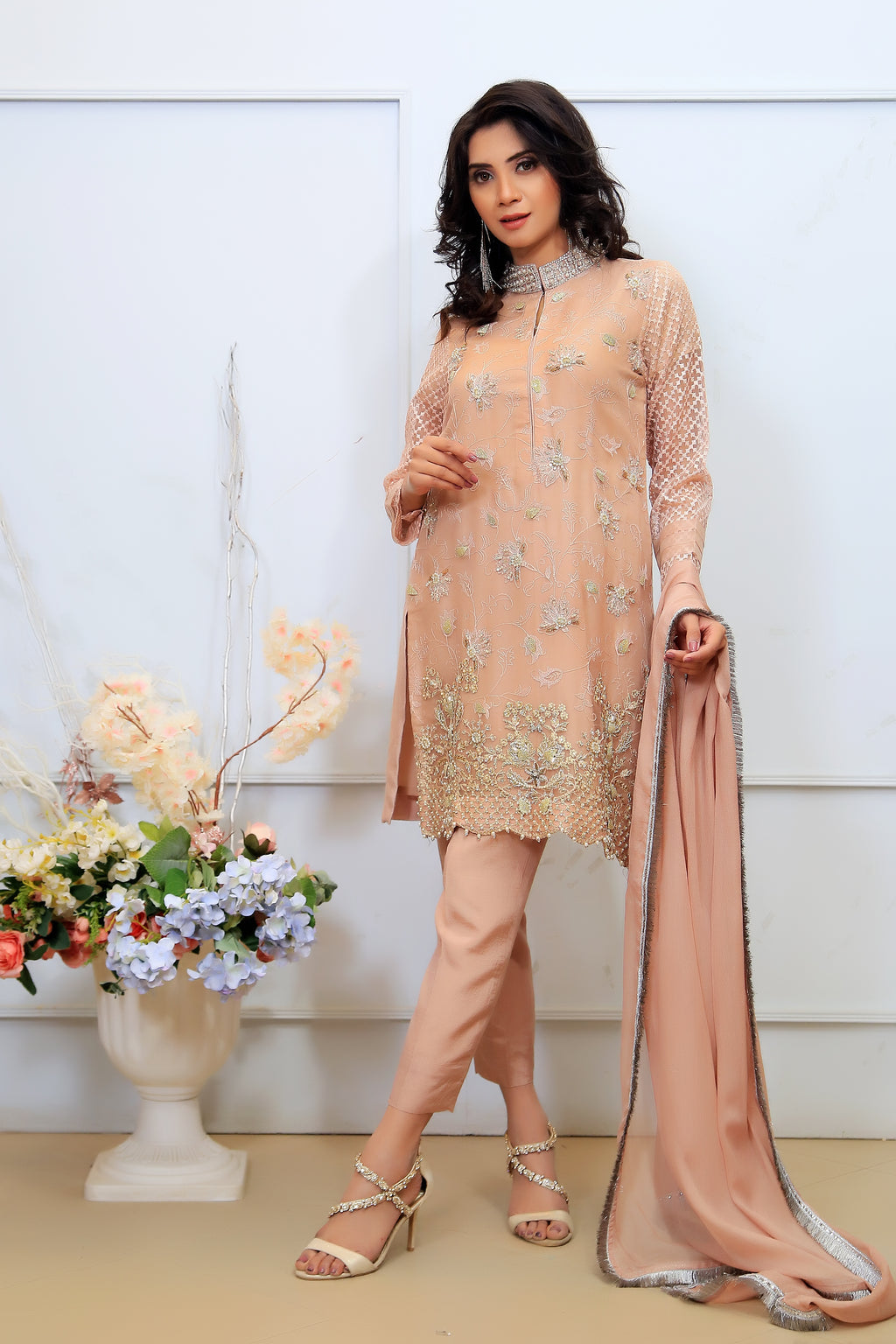 Light Pink Pearl & Diamante Embroidered Outfit