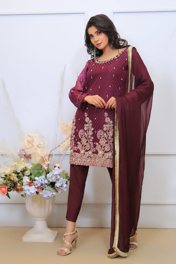 Plum Diamante Embroidered Outfit - Henna Mehndi