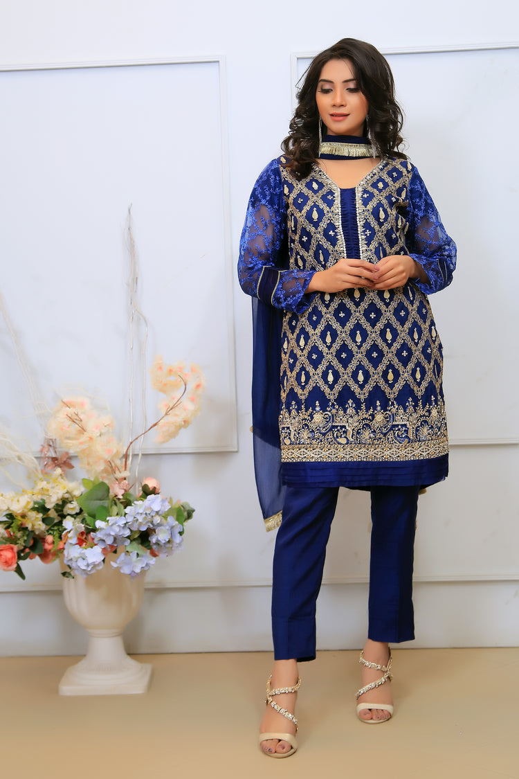 Navy Dimante Embroidered Outfit