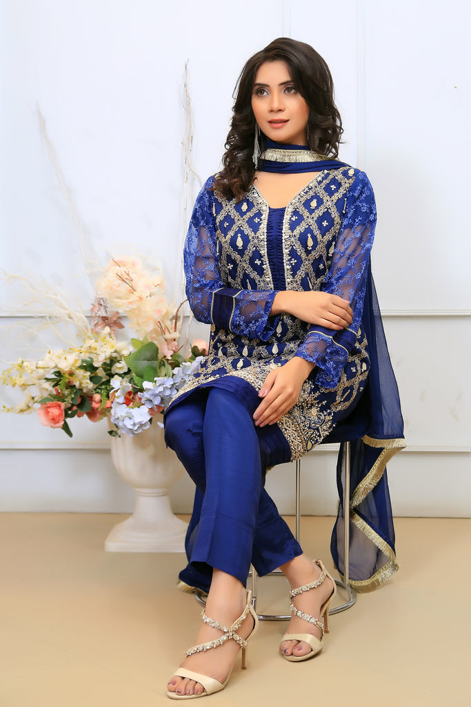 Navy Dimante Embroidered Outfit - Henna Mehndi
