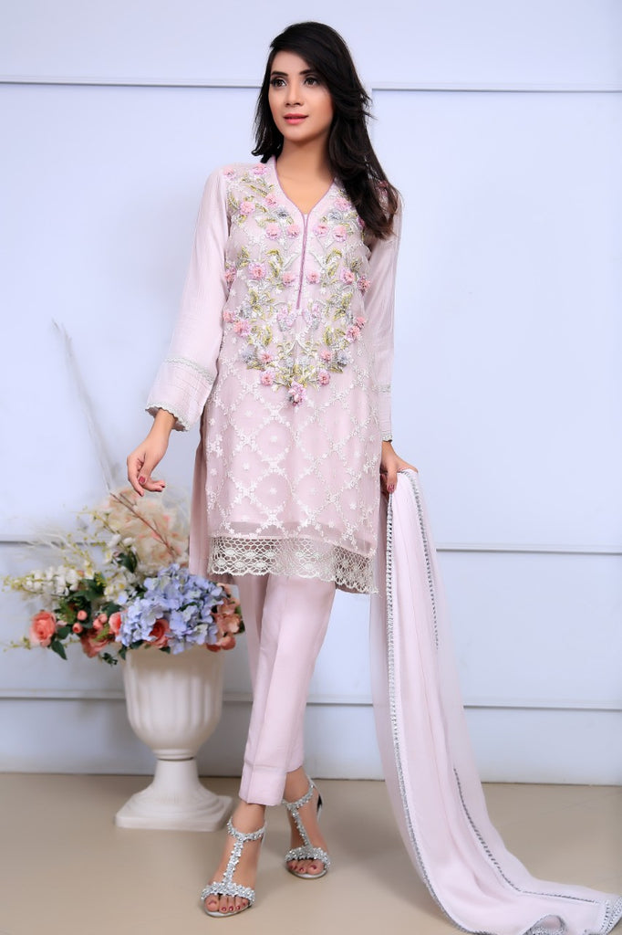 Baby Pink Embroidered & Printed Organza Outfit - Henna Mehndi