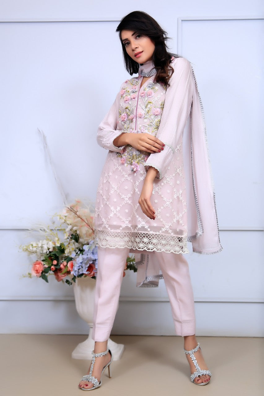 Baby Pink Embroidered & Printed Organza Outfit