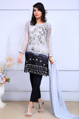Grey Embroidered & Printed Organza Outfit