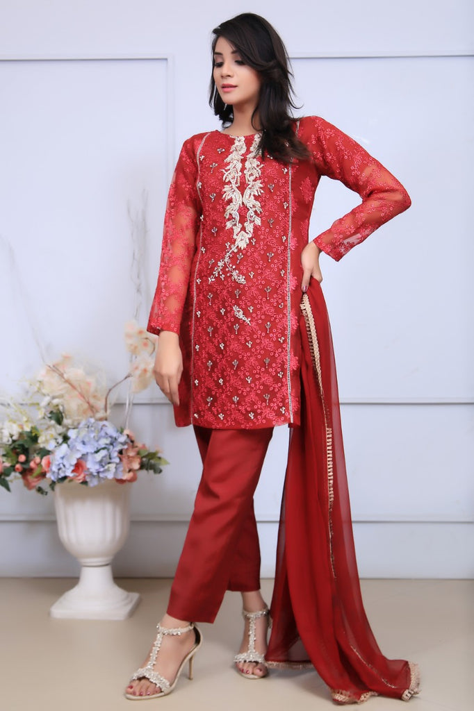 Red Embroidered & Printed Organza Outfit - Henna Mehndi