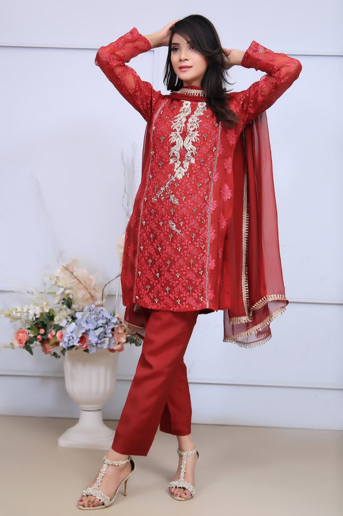 Red Embroidered & Printed Organza Outfit
