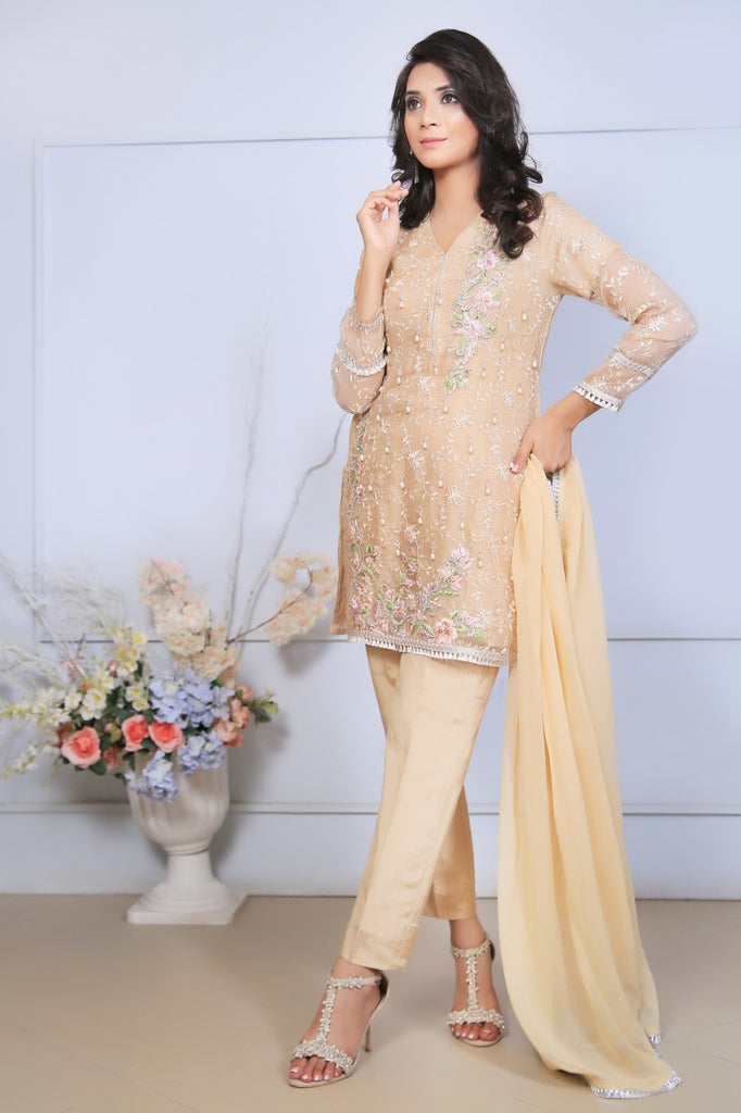 Beige Diamante Embroidered Outfit - Henna Mehndi