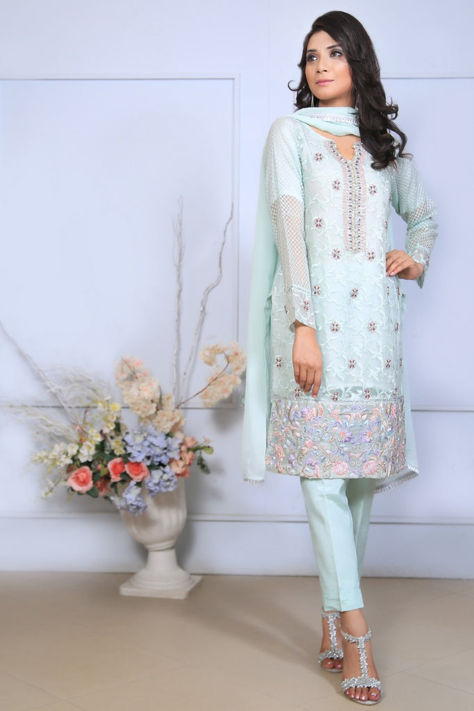 Mint Diamante Embroidered Outfit