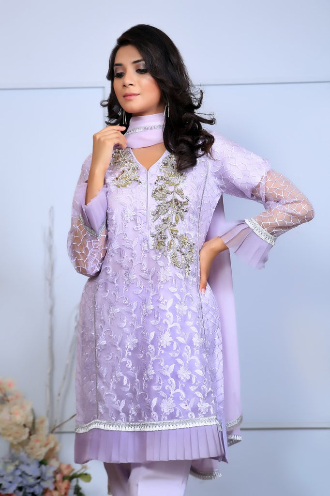 Purple Diamante Embroidered Outfit - Henna Mehndi