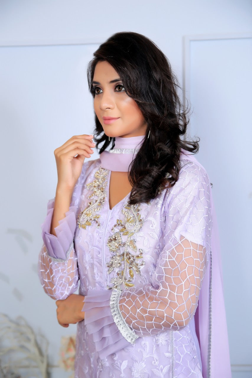 Purple Diamante Embroidered Outfit