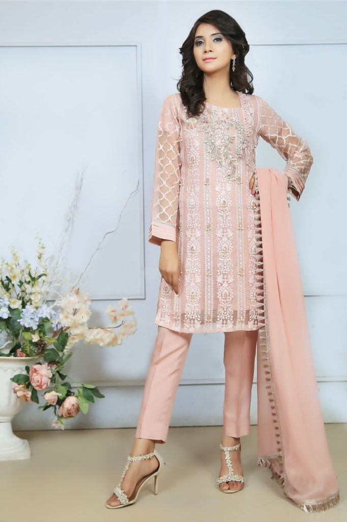 Pink Diamante Embroidered Outfit - Henna Mehndi