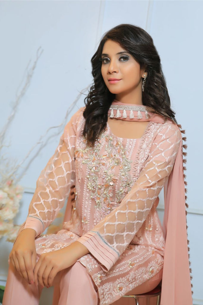 Pink Diamante Embroidered Outfit
