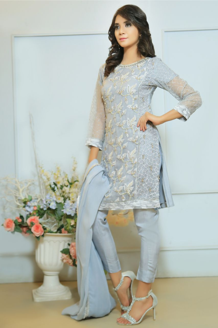 Grey Diamante Embroidered Outfit