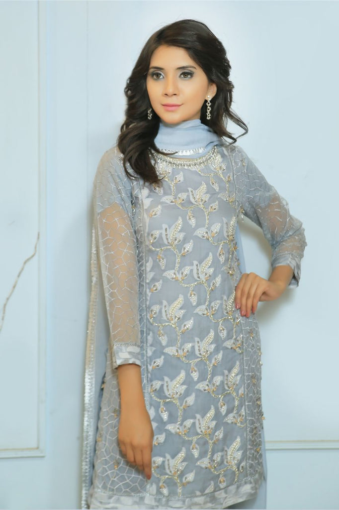 Grey Diamante Embroidered Outfit - Henna Mehndi