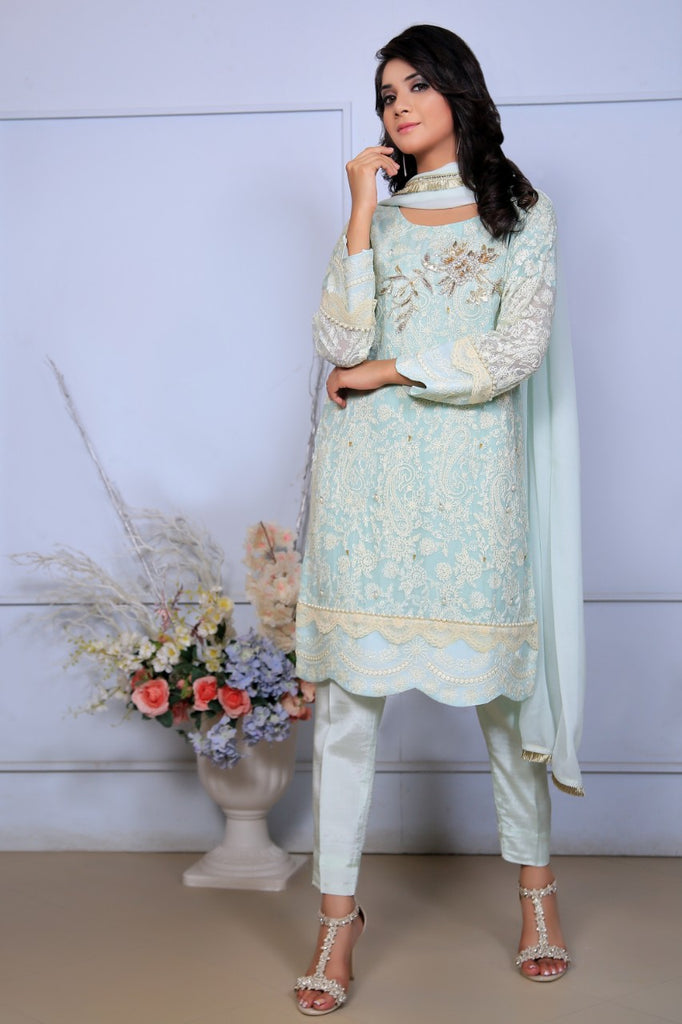 Mint Diamante Embroidered Outfit - Henna Mehndi
