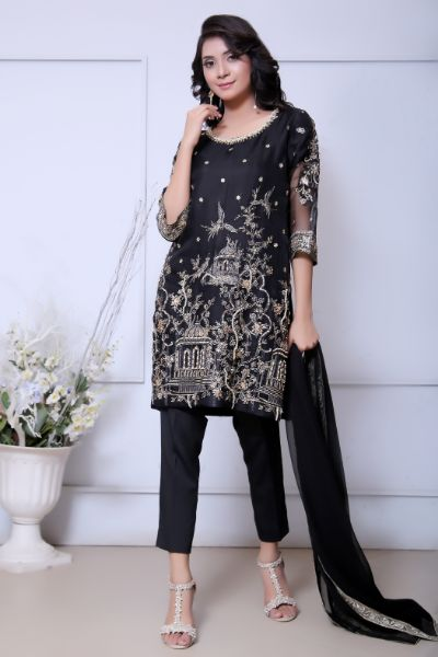 Black Diamante Embroidered Outfit