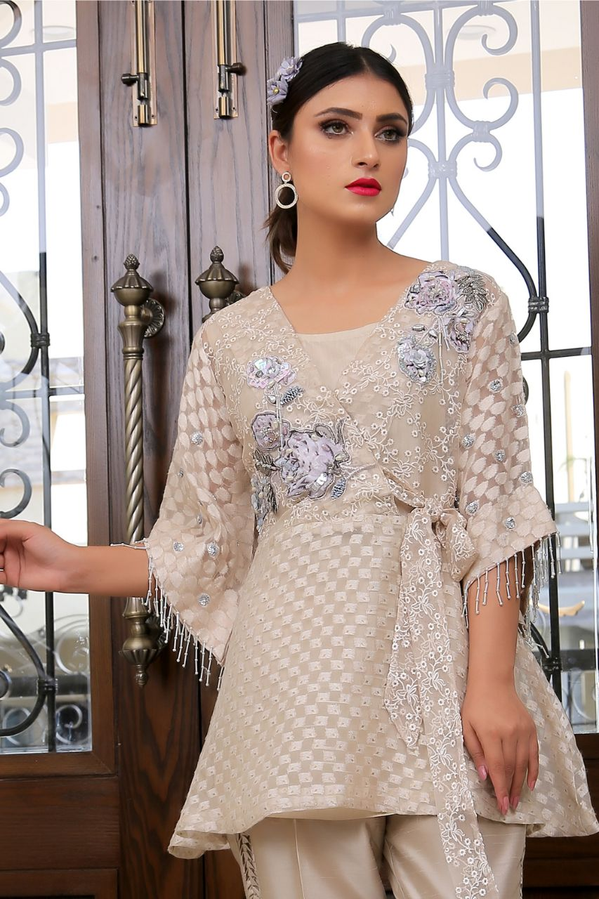 Embroidered Design Gold Fantasy Top