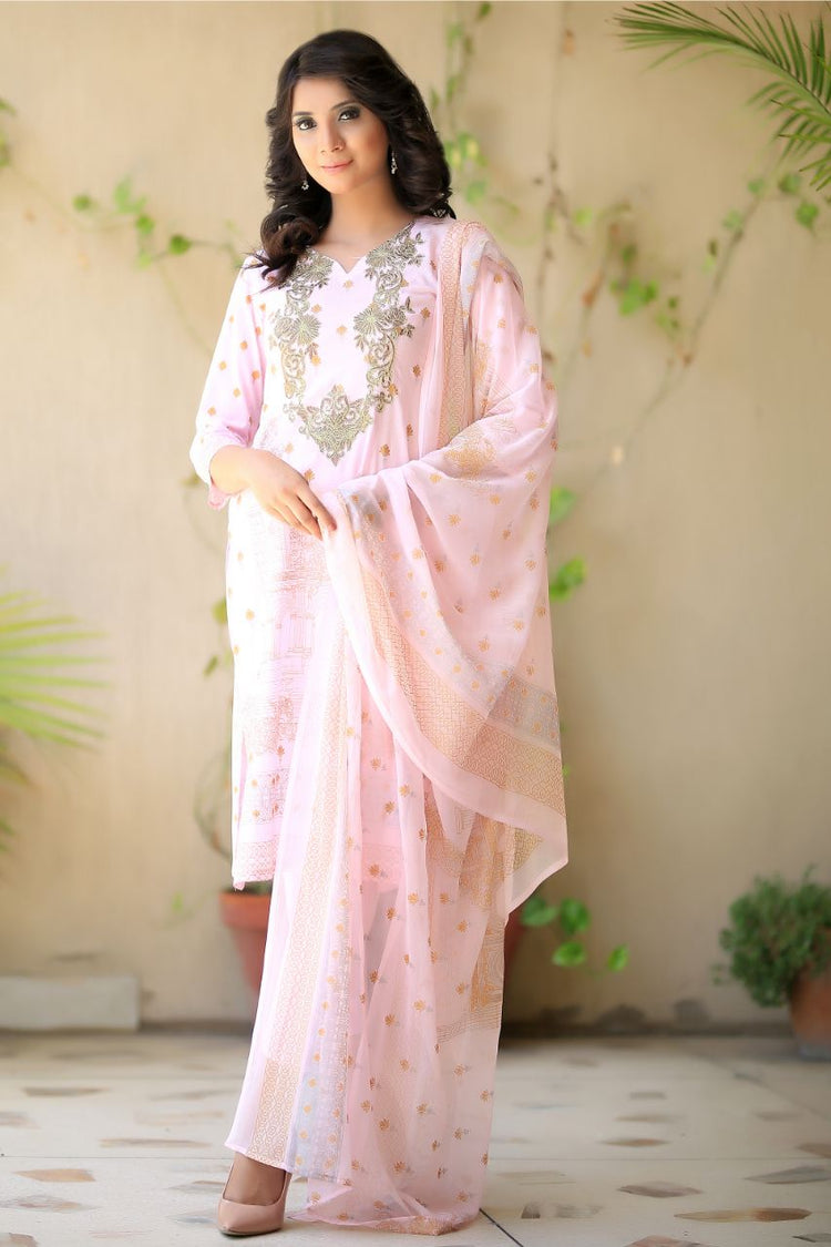 Pink Embroidered and Printed Lawn Outfit