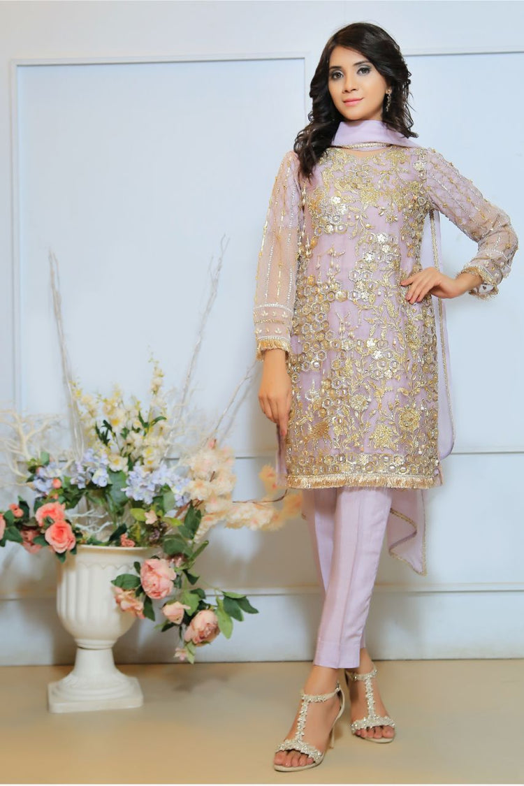 Lilac Diamante Embroidered Outfit