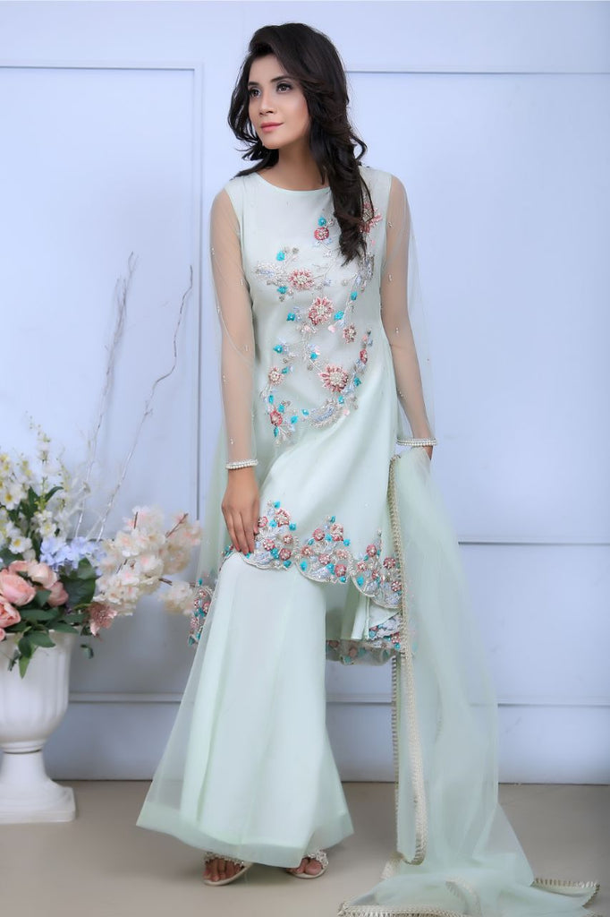 Mint Pearl & Diamante Embroidered Outfit