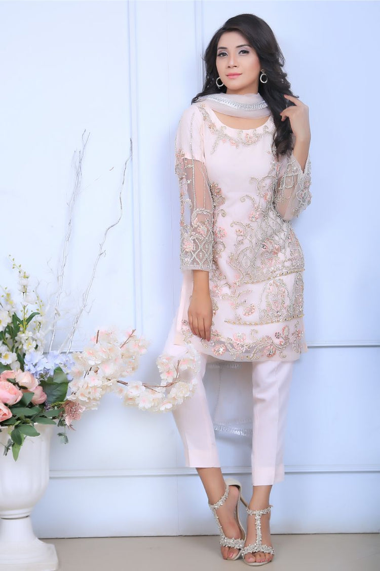 Pink Pearl & Diamante Embroidered Outfit