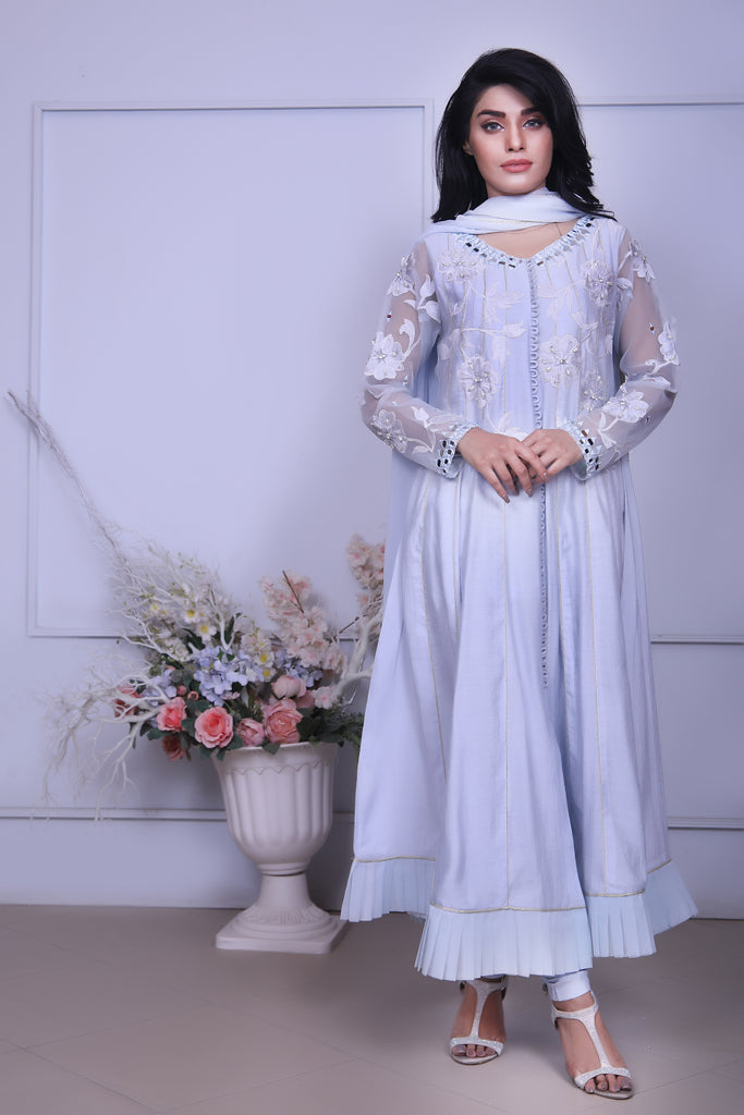 Ice Blue Embroidered Outfit