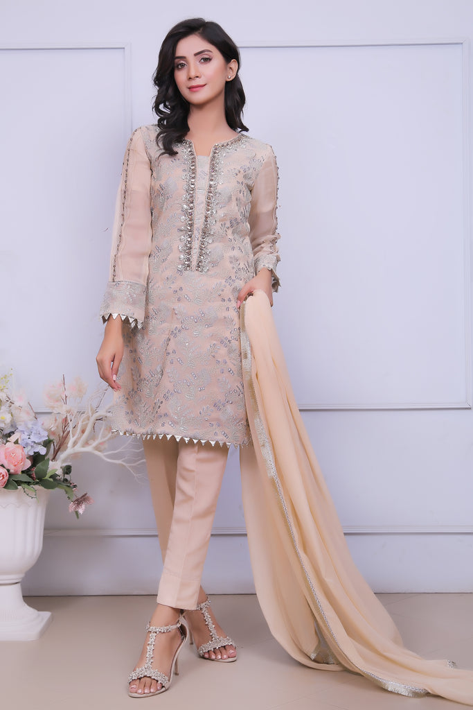 Gold Diamante Embroidered Outfit - Henna Mehndi