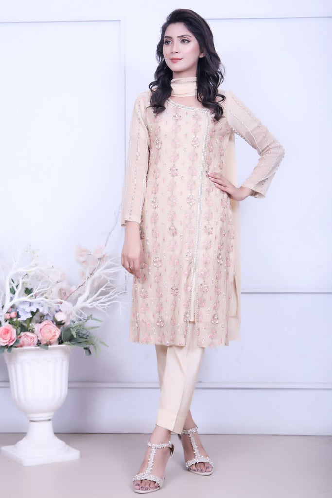 Beige Diamante Embroidered Outfit