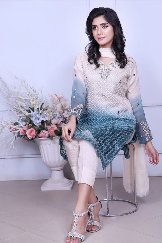 Ombre Diamante Embroidered Outfit