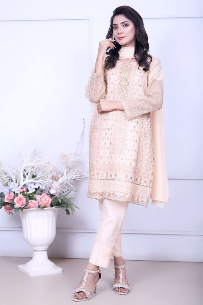 Peach Diamante Embroidery Outfit