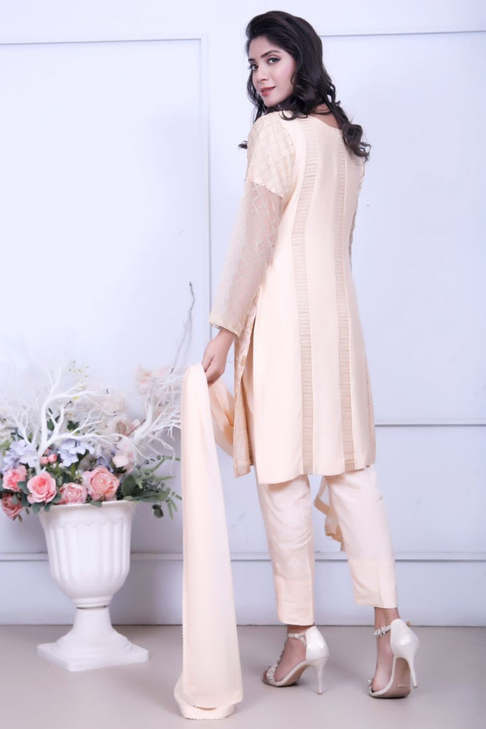 Peach Diamante Embroidery Outfit - Henna Mehndi