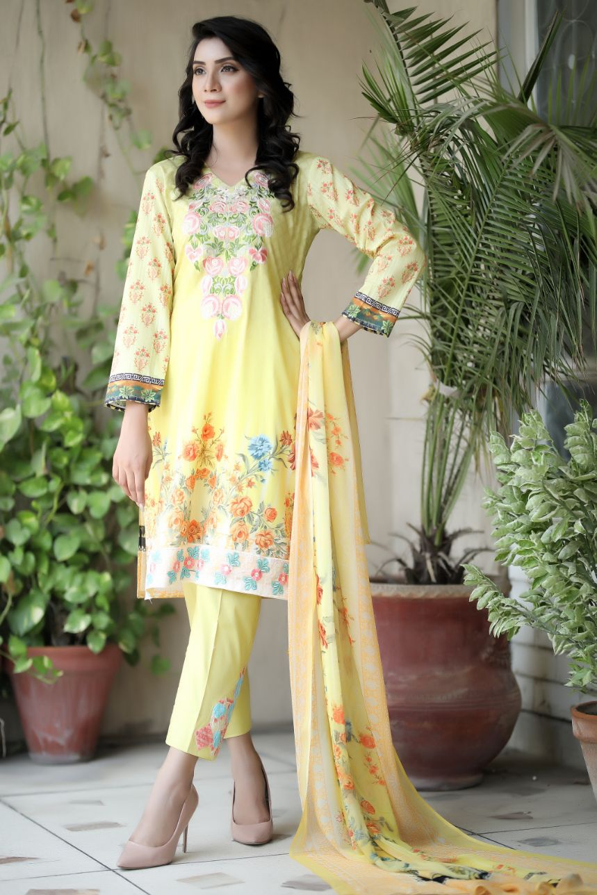 Yellow embroidered and printed lawn outfit