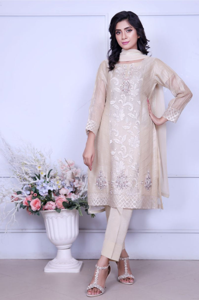 Cream Diamante Embroidered Outfit - Henna Mehndi