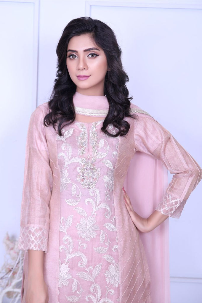 Tea Pink Embroidered Outfit - Henna Mehndi