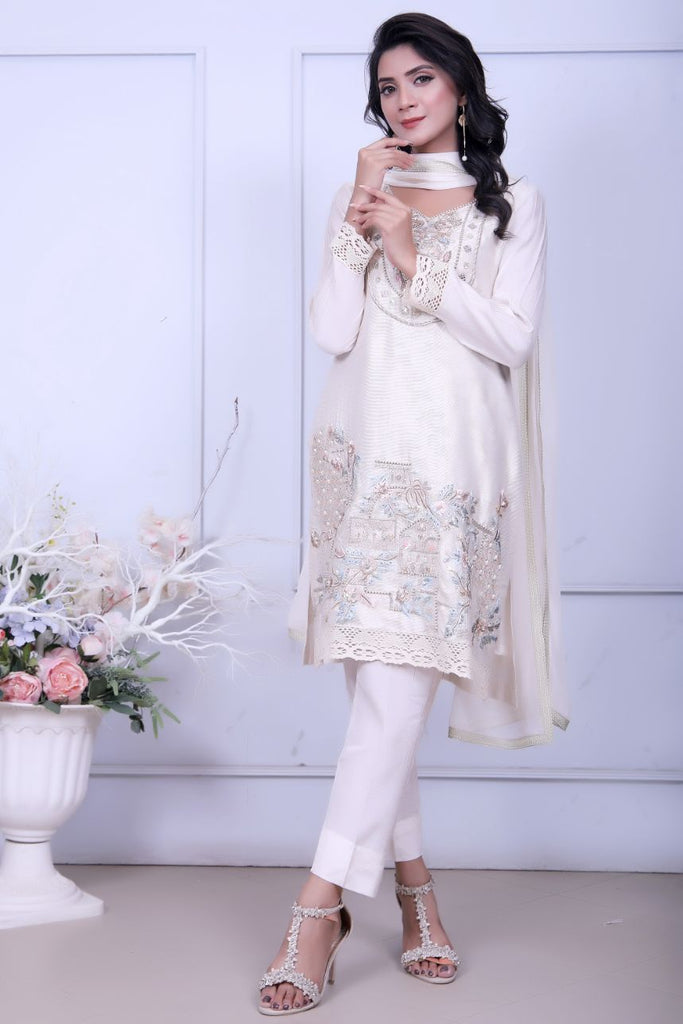 Ivory Diamante Embroidered Outfit - Henna Mehndi